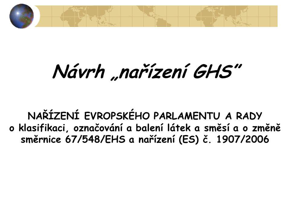 """Návrh """"nařízení GHS"""" NAŘÍZENÍ EVROPSKÉHO PARLAMENTU A RADY o klasifikaci, označování a balení látek a směsí a o změně směrnice 67/548/EHS a nařízení ("""