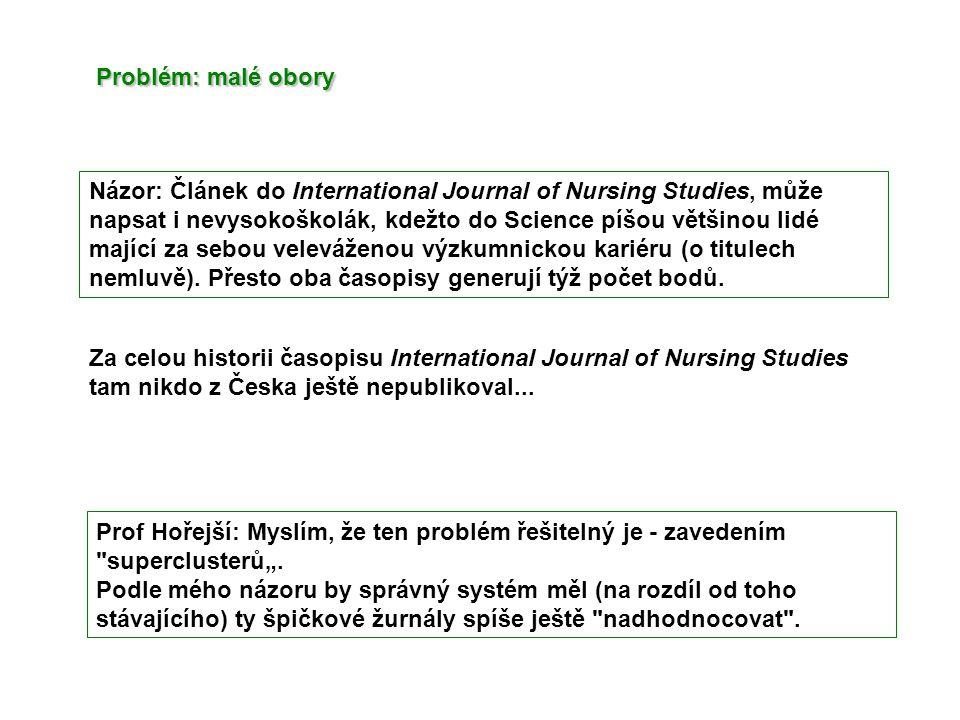 Názor: Článek do International Journal of Nursing Studies, může napsat i nevysokoškolák, kdežto do Science píšou většinou lidé mající za sebou veleváženou výzkumnickou kariéru (o titulech nemluvě).