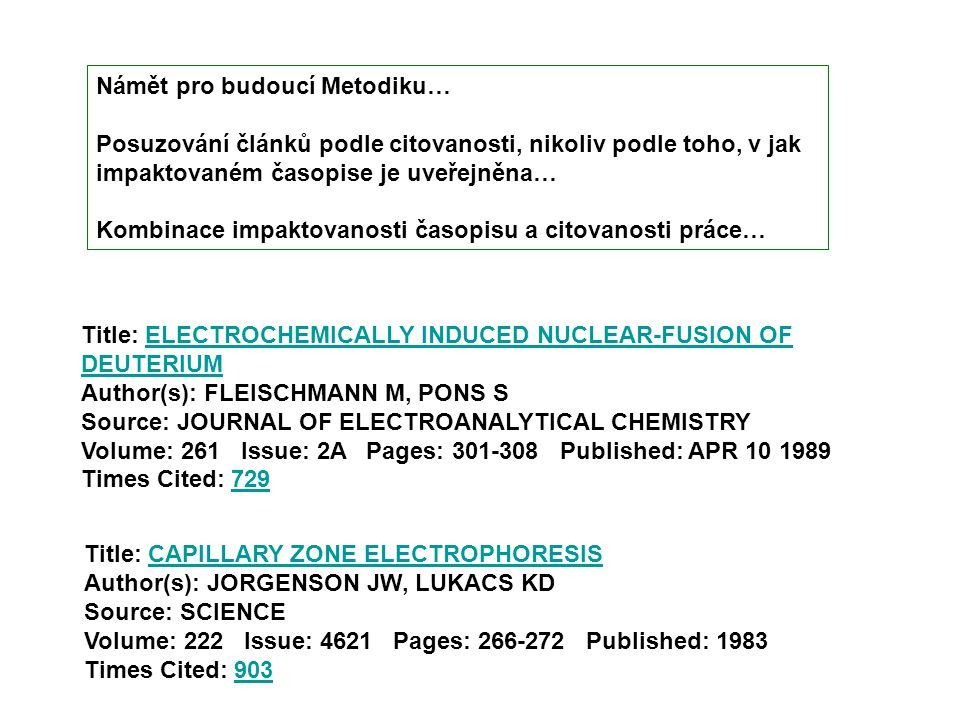 Title: ELECTROCHEMICALLY INDUCED NUCLEAR-FUSION OF DEUTERIUM Author(s): FLEISCHMANN M, PONS S Source: JOURNAL OF ELECTROANALYTICAL CHEMISTRY ELECTROCH