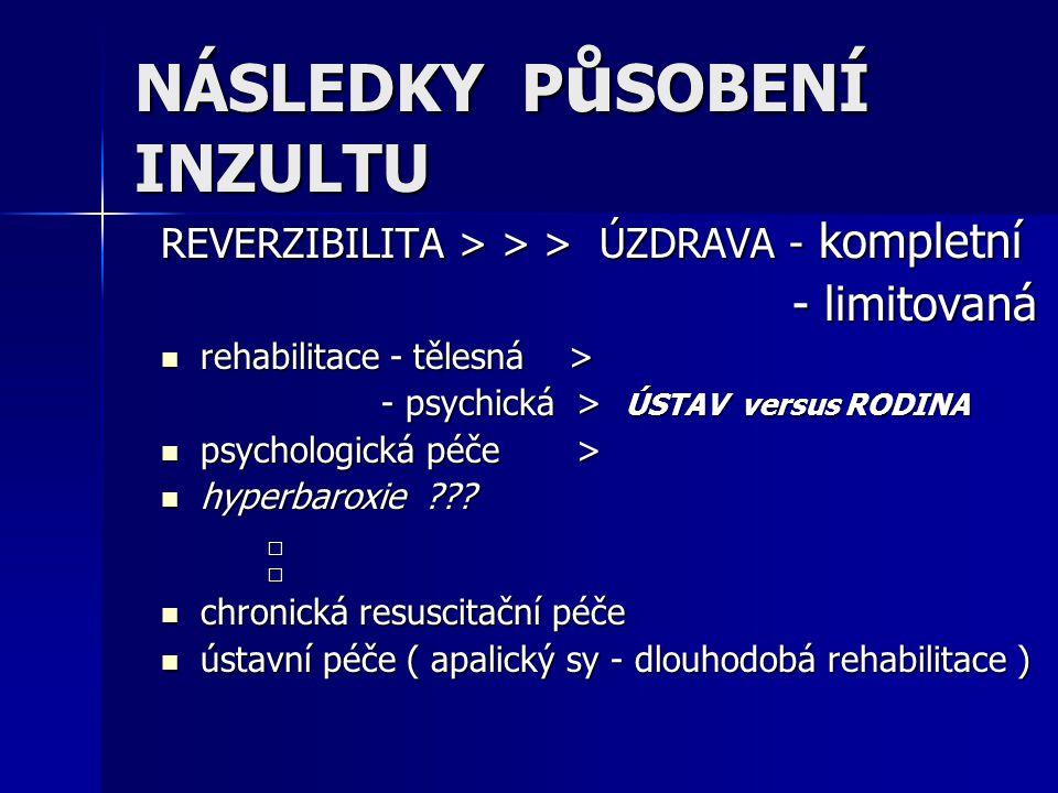 NÁSLEDKY P ů SOBENÍ INZULTU REVERZIBILITA > > > ÚZDRAVA - kompletní - limitovaná - limitovaná rehabilitace - tělesná > rehabilitace - tělesná > - psyc