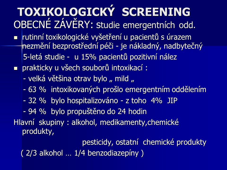 TOXIKOLOGICKÝ SCREENING OBECNÉ ZÁVĚRY: s tudie emergentních odd. rutinní toxikologické vyšetření u pacientů s úrazem nezmění bezprostřední péči - je n