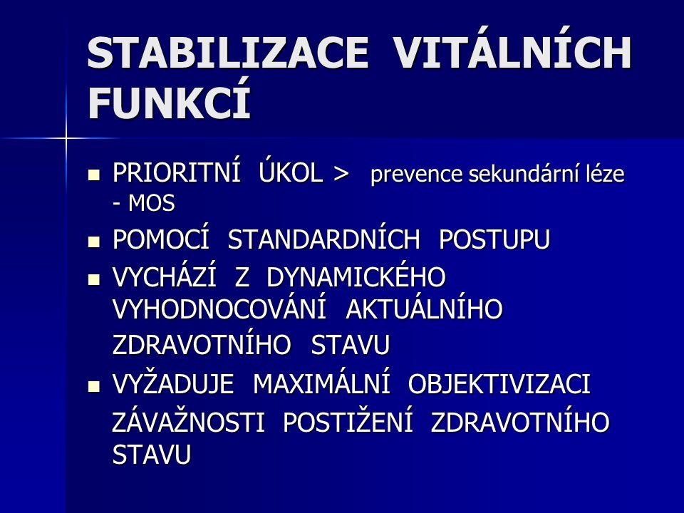 STABILIZACE VITÁLNÍCH FUNKCÍ PRIORITNÍ ÚKOL > prevence sekundární léze - MOS PRIORITNÍ ÚKOL > prevence sekundární léze - MOS POMOCÍ STANDARDNÍCH POSTU