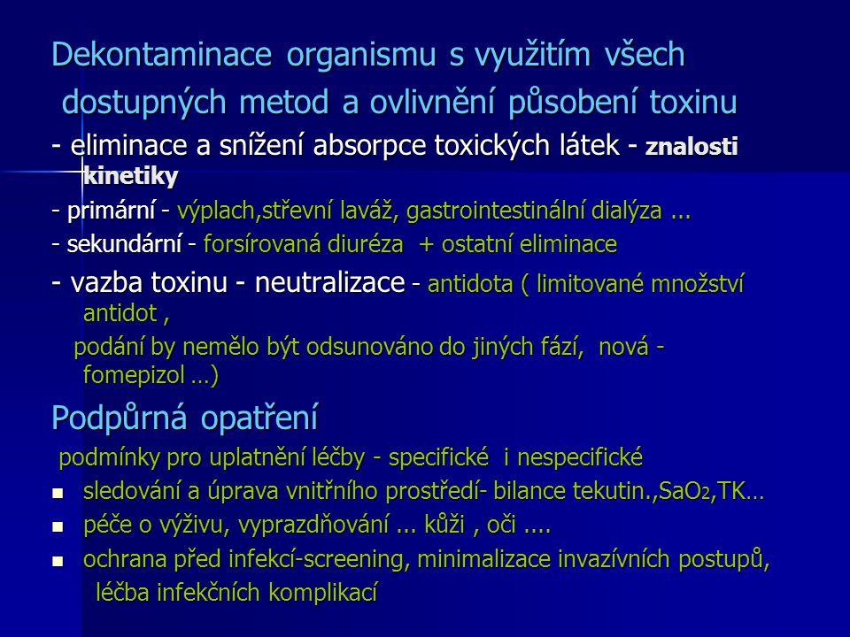 Dekontaminace organismu s využitím všech dostupných metod a ovlivnění působení toxinu dostupných metod a ovlivnění působení toxinu - eliminace a sníže