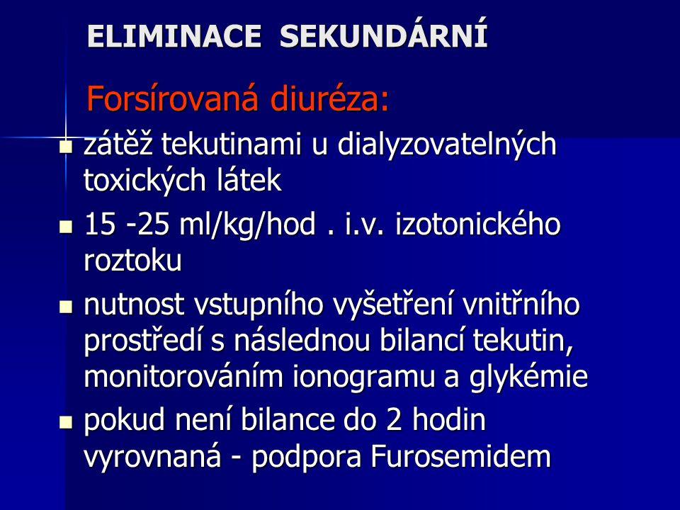 ELIMINACE SEKUNDÁRNÍ Forsírovaná diuréza: Forsírovaná diuréza: zátěž tekutinami u dialyzovatelných toxických látek zátěž tekutinami u dialyzovatelných