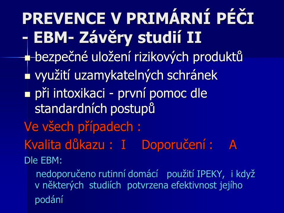 PREVENCE V PRIMÁRNÍ PÉČI - EBM- Závěry studií II bezpečné uložení rizikových produktů bezpečné uložení rizikových produktů využití uzamykatelných schr