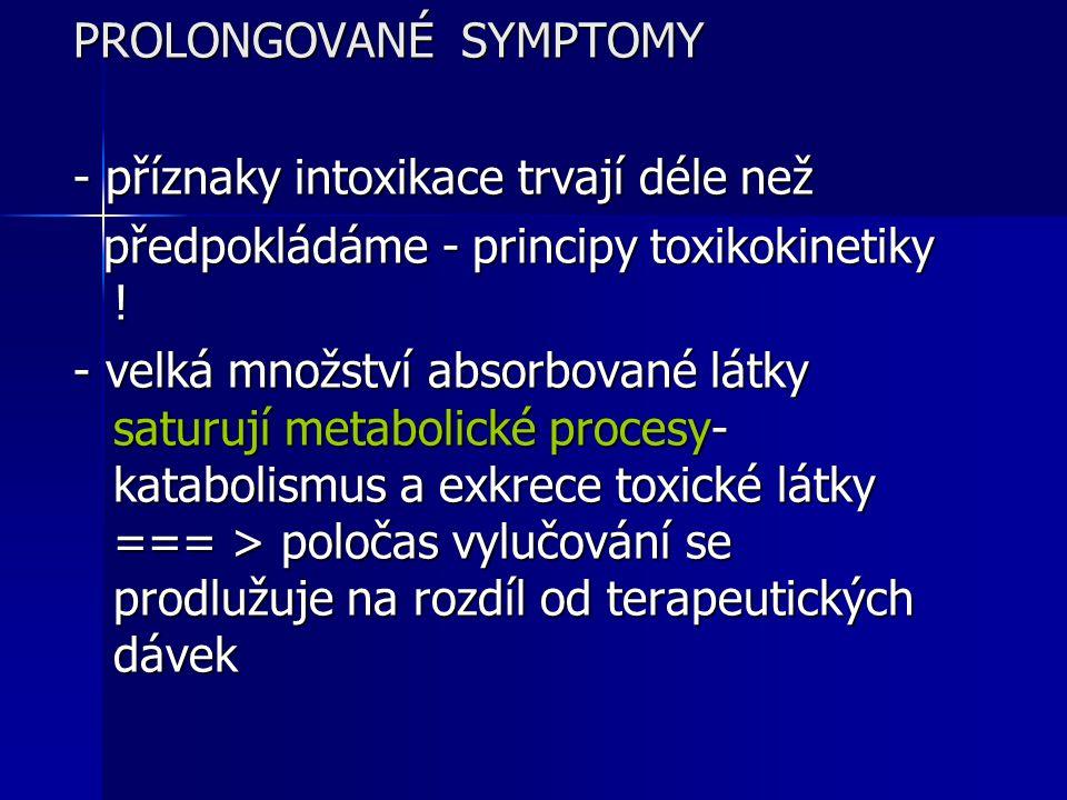 PROLONGOVANÉ SYMPTOMY - příznaky intoxikace trvají déle než předpokládáme - principy toxikokinetiky ! předpokládáme - principy toxikokinetiky ! - velk