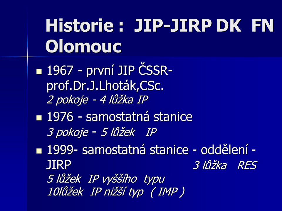 Historie : JIP-JIRP DK FN Olomouc 1967 - první JIP ČSSR- prof.Dr.J.Lhoták,CSc. 2 pokoje - 4 lůžka IP 1967 - první JIP ČSSR- prof.Dr.J.Lhoták,CSc. 2 po