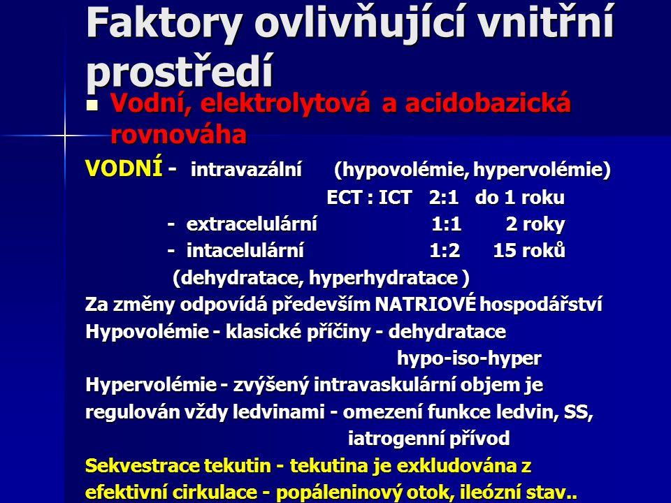 Faktory ovlivňující vnitřní prostředí Vodní, elektrolytová a acidobazická rovnováha Vodní, elektrolytová a acidobazická rovnováha VODNÍ - intravazální