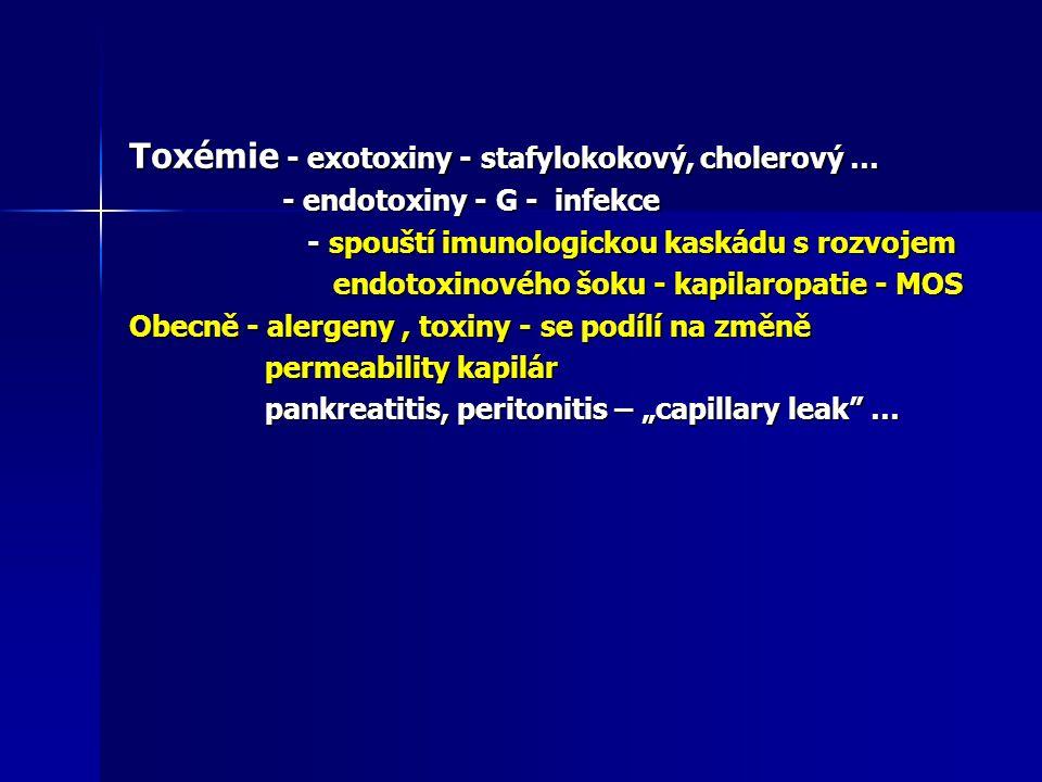 Toxémie - exotoxiny - stafylokokový, cholerový … - endotoxiny - G - infekce - endotoxiny - G - infekce - spouští imunologickou kaskádu s rozvojem - sp