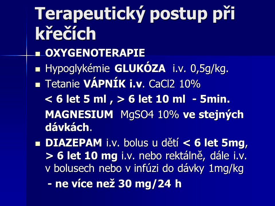 Terapeutický postup při křečích OXYGENOTERAPIE OXYGENOTERAPIE Hypoglykémie GLUKÓZA i.v. 0,5g/kg. Hypoglykémie GLUKÓZA i.v. 0,5g/kg. Tetanie VÁPNÍK i.v