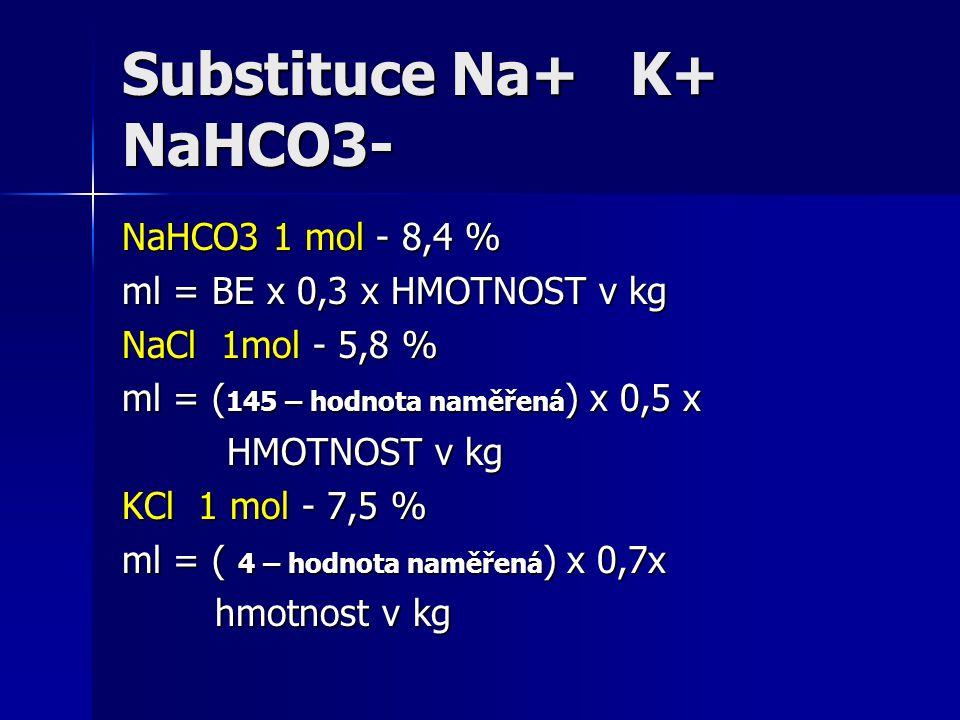 Substituce Na+ K+ NaHCO3- NaHCO3 1 mol - 8,4 % ml = BE x 0,3 x HMOTNOST v kg NaCl 1mol - 5,8 % ml = ( 145 – hodnota naměřená ) x 0,5 x HMOTNOST v kg H