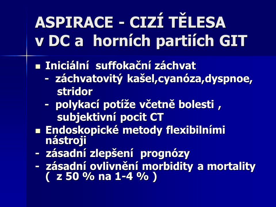 ASPIRACE - CIZÍ TĚLESA v DC a horních partiích GIT Iniciální suffokační záchvat Iniciální suffokační záchvat - záchvatovitý kašel,cyanóza,dyspnoe, - z