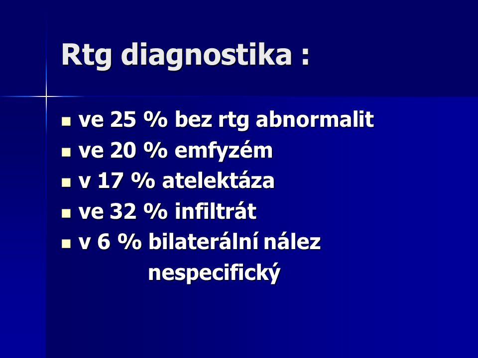 Rtg diagnostika : ve 25 % bez rtg abnormalit ve 25 % bez rtg abnormalit ve 20 % emfyzém ve 20 % emfyzém v 17 % atelektáza v 17 % atelektáza ve 32 % in