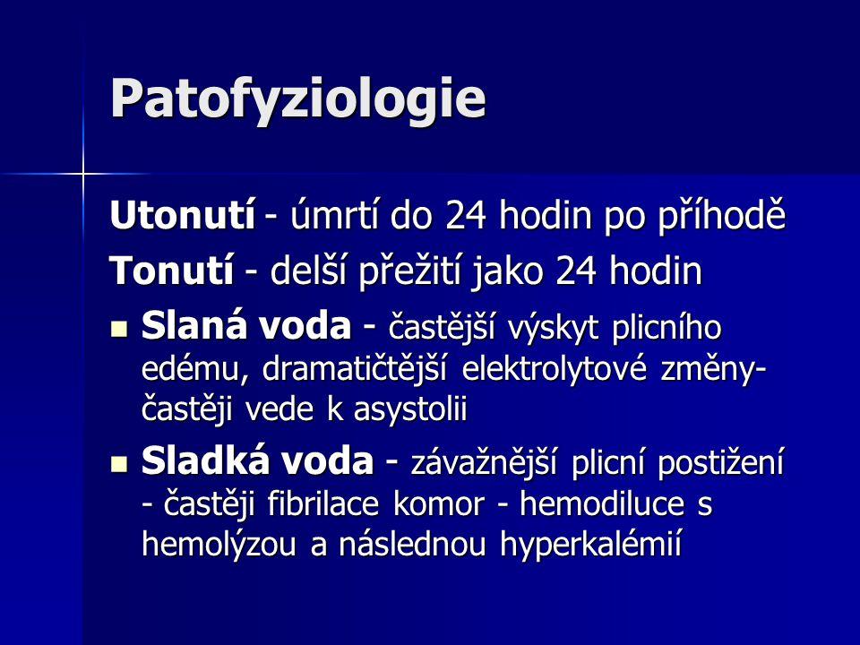 Patofyziologie Utonutí - úmrtí do 24 hodin po příhodě Tonutí - delší přežití jako 24 hodin Slaná voda - častější výskyt plicního edému, dramatičtější