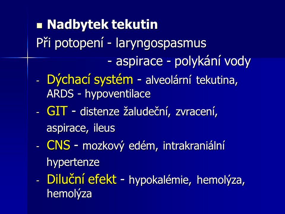 Nadbytek tekutin Nadbytek tekutin Při potopení - laryngospasmus - aspirace - polykání vody - aspirace - polykání vody - Dýchací systém - alveolární te