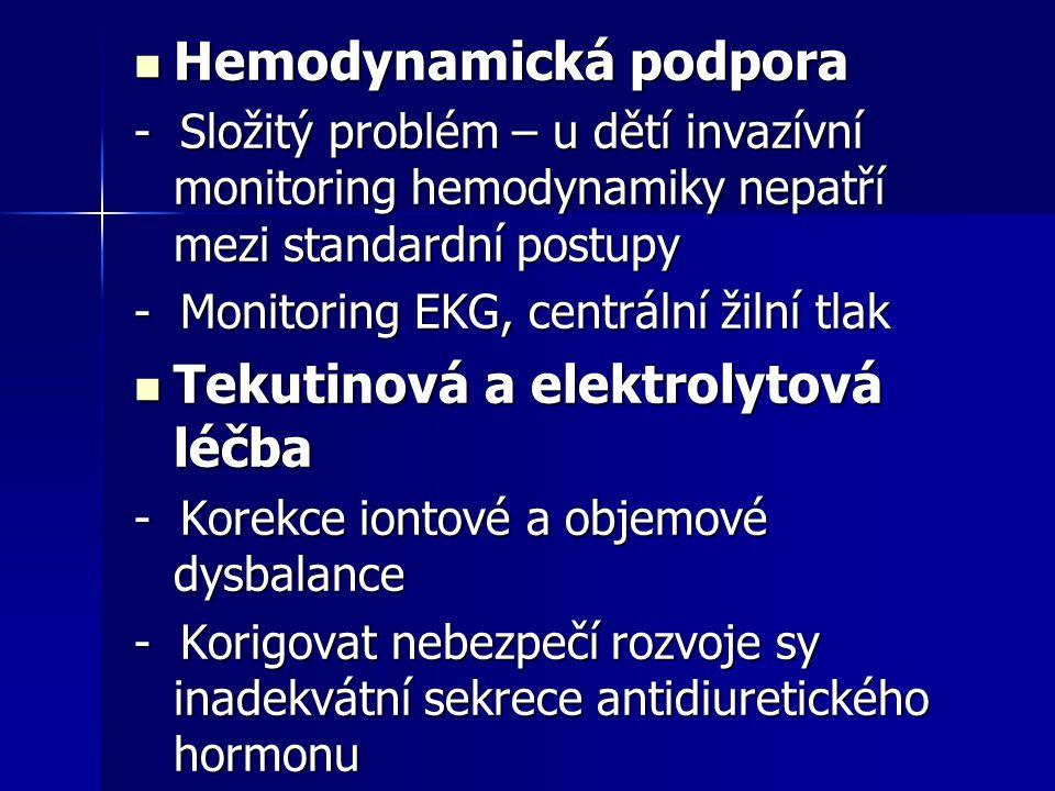 Hemodynamická podpora Hemodynamická podpora - Složitý problém – u dětí invazívní monitoring hemodynamiky nepatří mezi standardní postupy - Monitoring