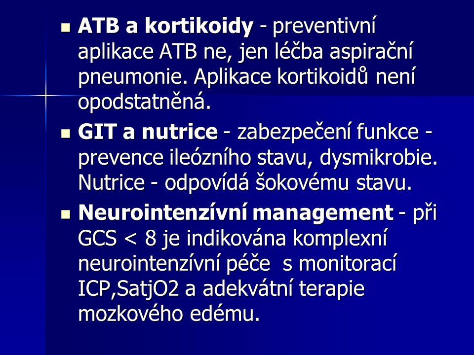 ATB a kortikoidy - preventivní aplikace ATB ne, jen léčba aspirační pneumonie. Aplikace kortikoidů není opodstatněná. ATB a kortikoidy - preventivní a