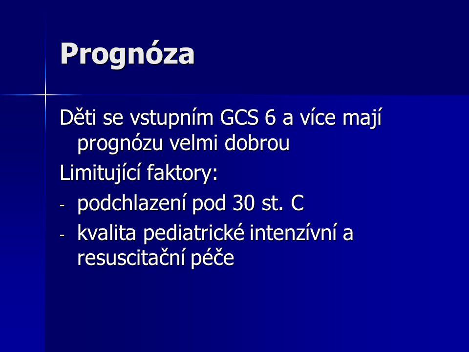 Prognóza Děti se vstupním GCS 6 a více mají prognózu velmi dobrou Limitující faktory: - podchlazení pod 30 st. C - kvalita pediatrické intenzívní a re