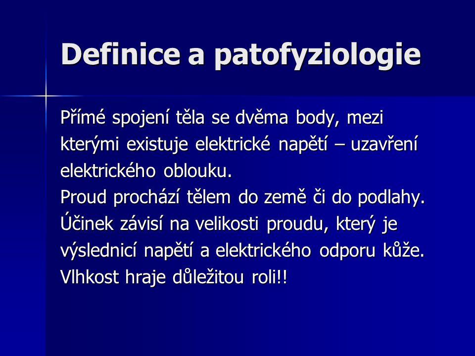 Definice a patofyziologie Přímé spojení těla se dvěma body, mezi kterými existuje elektrické napětí – uzavření elektrického oblouku. Proud prochází tě