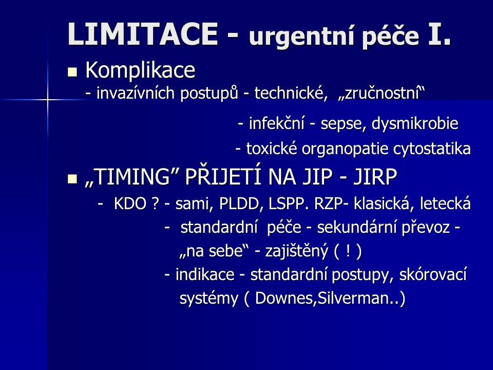 """LIMITACE - urgentní péče I. Komplikace - invazívních postupů - technické, """"zručnostní"""" Komplikace - invazívních postupů - technické, """"zručnostní"""" - in"""