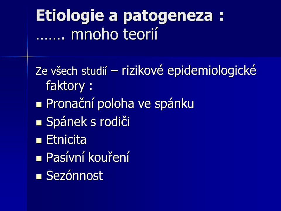 Etiologie a patogeneza : ……. mnoho teorií Ze všech studií – rizikové epidemiologické faktory : Pronační poloha ve spánku Pronační poloha ve spánku Spá