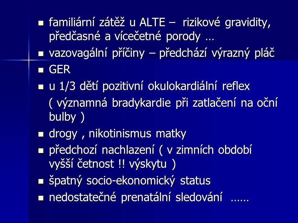 familiární zátěž u ALTE – rizikové gravidity, předčasné a vícečetné porody … familiární zátěž u ALTE – rizikové gravidity, předčasné a vícečetné porod