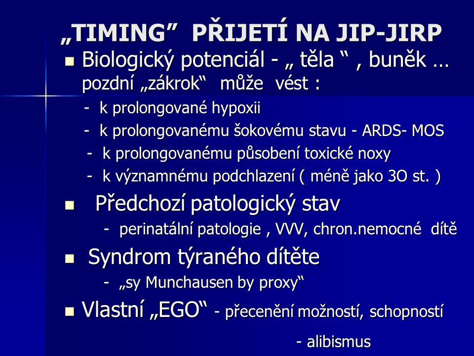 """""""TIMING"""" PŘIJETÍ NA JIP-JIRP Biologický potenciál - """" těla """", buněk … pozdní """"zákrok"""" může vést : Biologický potenciál - """" těla """", buněk … pozdní """"zák"""