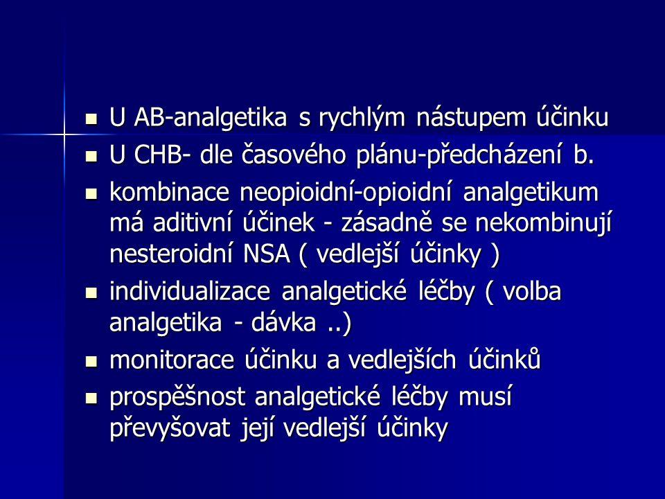 U AB-analgetika s rychlým nástupem účinku U AB-analgetika s rychlým nástupem účinku U CHB- dle časového plánu-předcházení b. U CHB- dle časového plánu