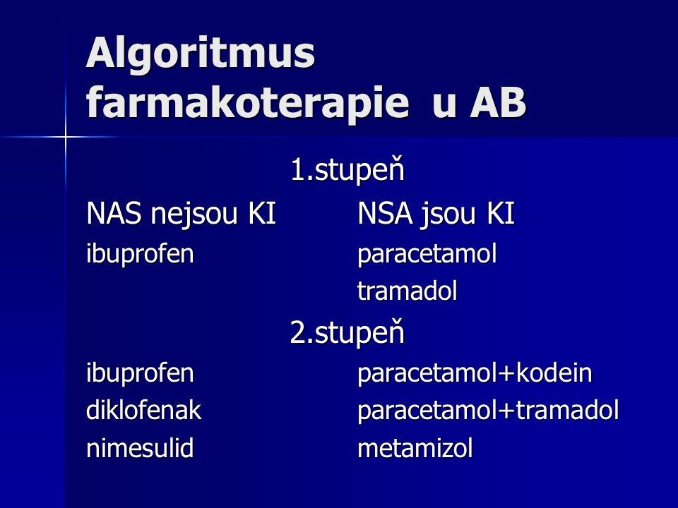 Algoritmus farmakoterapie u AB 1.stupeň NAS nejsou KINSA jsou KI ibuprofenparacetamol tramadol2.stupeň ibuprofenparacetamol+kodein diklofenakparacetam