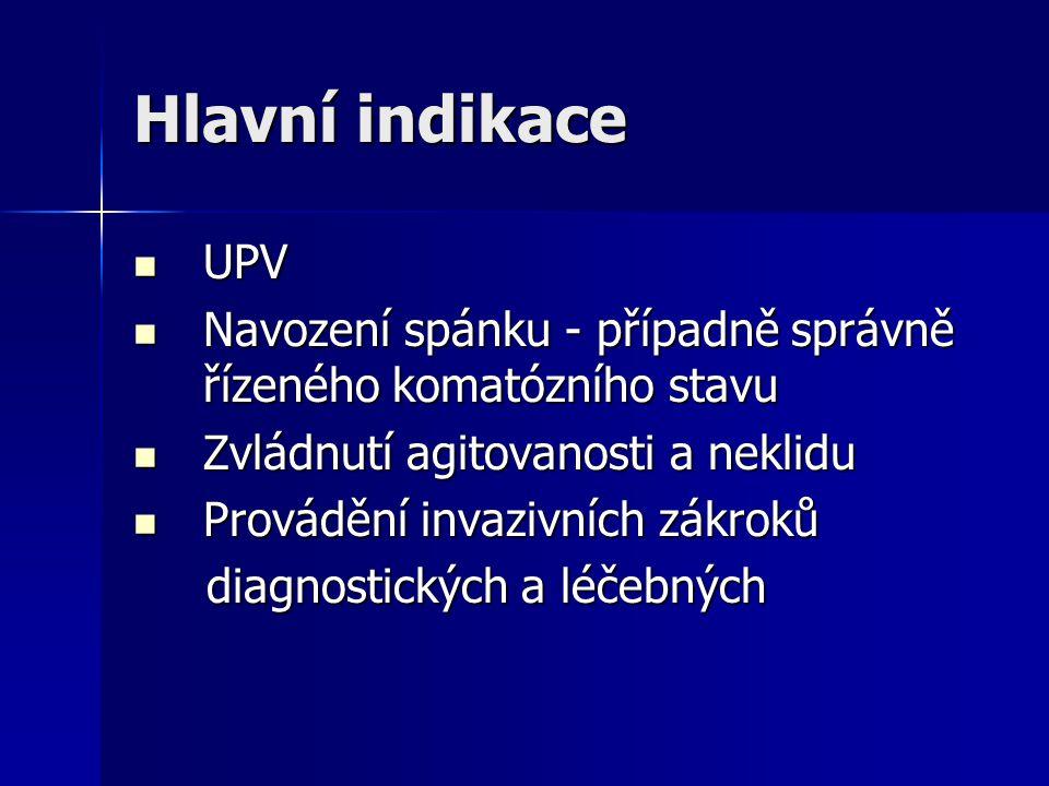 Hlavní indikace UPV UPV Navození spánku - případně správně řízeného komatózního stavu Navození spánku - případně správně řízeného komatózního stavu Zv