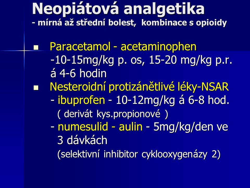 Neopiátová analgetika - mírná až střední bolest, kombinace s opioidy Paracetamol - acetaminophen Paracetamol - acetaminophen -10-15mg/kg p. os, 15-20