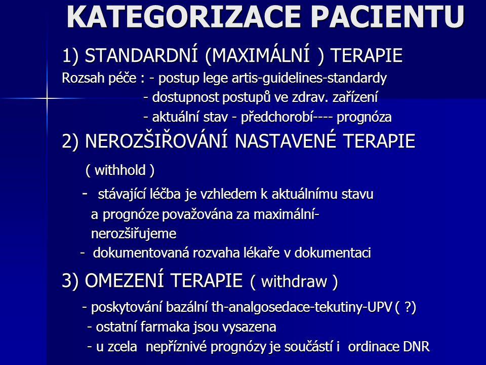 KATEGORIZACE PACIENTU 1) STANDARDNÍ (MAXIMÁLNÍ ) TERAPIE Rozsah péče : - postup lege artis-guidelines-standardy - dostupnost postupů ve zdrav. zařízen