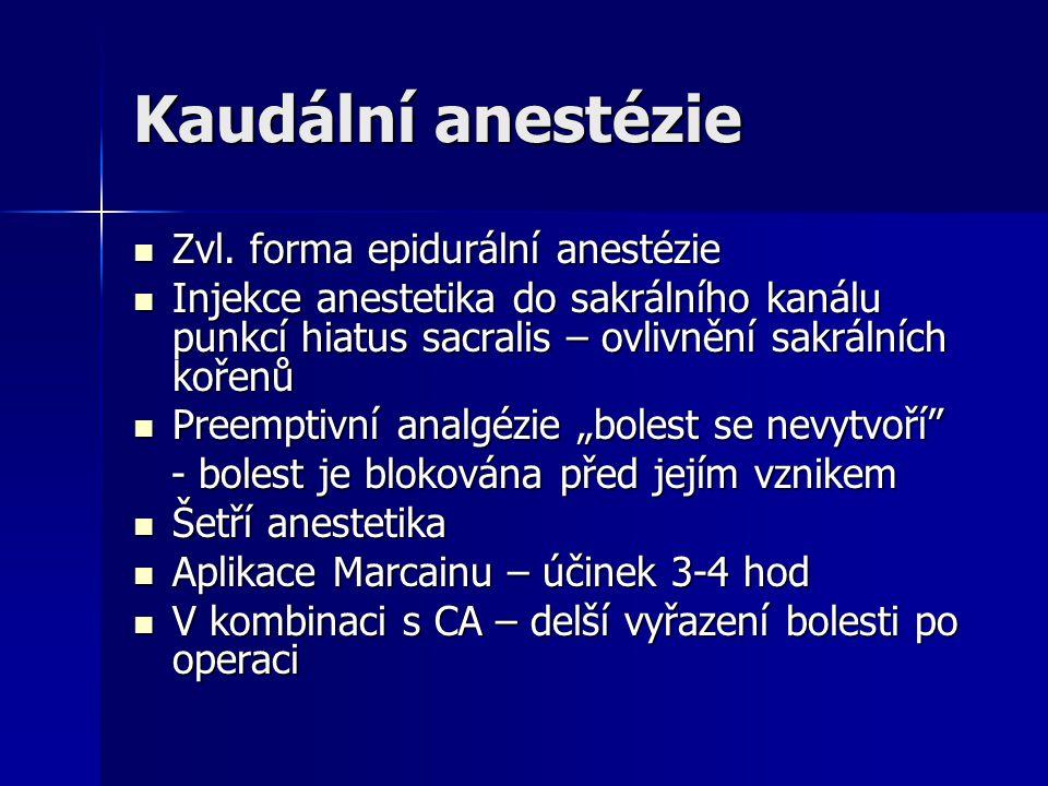 Kaudální anestézie Zvl. forma epidurální anestézie Zvl. forma epidurální anestézie Injekce anestetika do sakrálního kanálu punkcí hiatus sacralis – ov