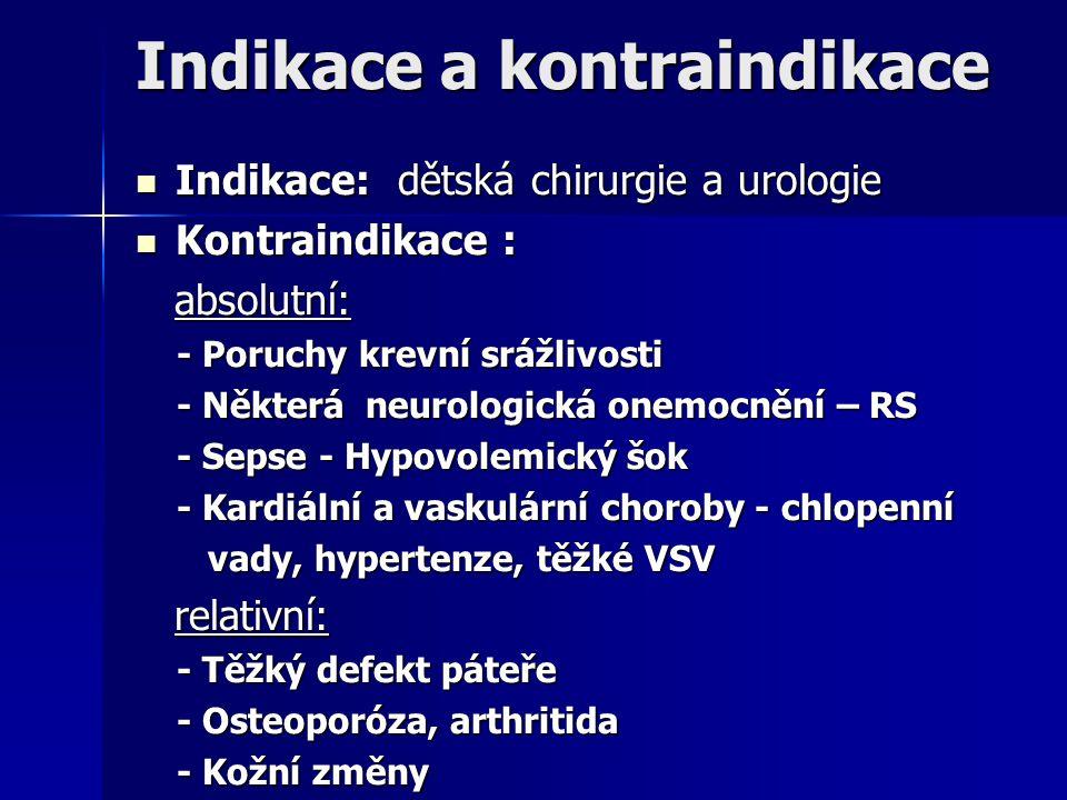 Indikace a kontraindikace Indikace: dětská chirurgie a urologie Indikace: dětská chirurgie a urologie Kontraindikace : Kontraindikace : absolutní: abs