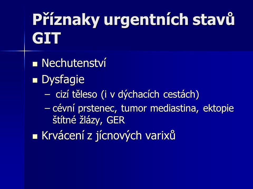 Příznaky urgentních stavů GIT Nechutenství Nechutenství Dysfagie Dysfagie – cizí těleso (i v dýchacích cestách) –cévní prstenec, tumor mediastina, ekt