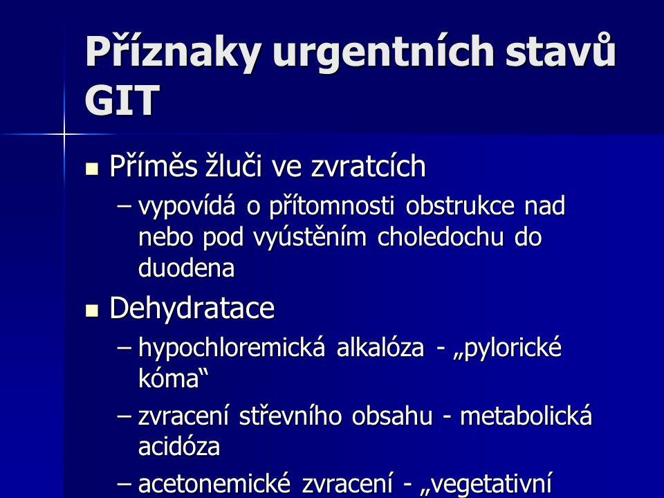Příznaky urgentních stavů GIT Příměs žluči ve zvratcích Příměs žluči ve zvratcích –vypovídá o přítomnosti obstrukce nad nebo pod vyústěním choledochu
