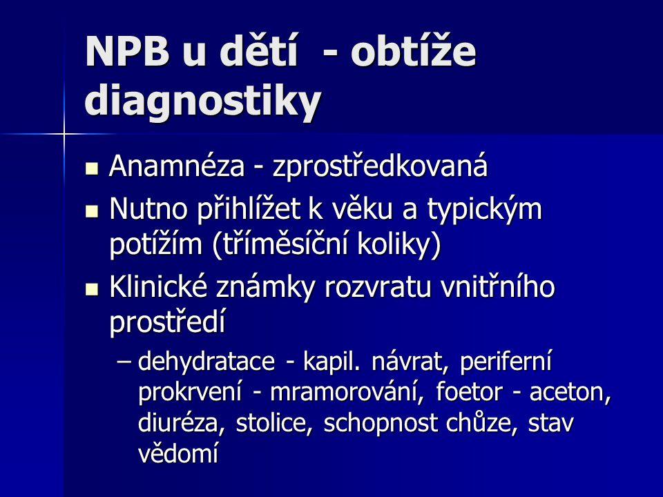 NPB u dětí - obtíže diagnostiky Anamnéza - zprostředkovaná Anamnéza - zprostředkovaná Nutno přihlížet k věku a typickým potížím (tříměsíční koliky) Nu