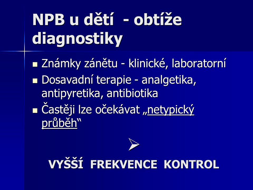 NPB u dětí - obtíže diagnostiky Známky zánětu - klinické, laboratorní Známky zánětu - klinické, laboratorní Dosavadní terapie - analgetika, antipyreti