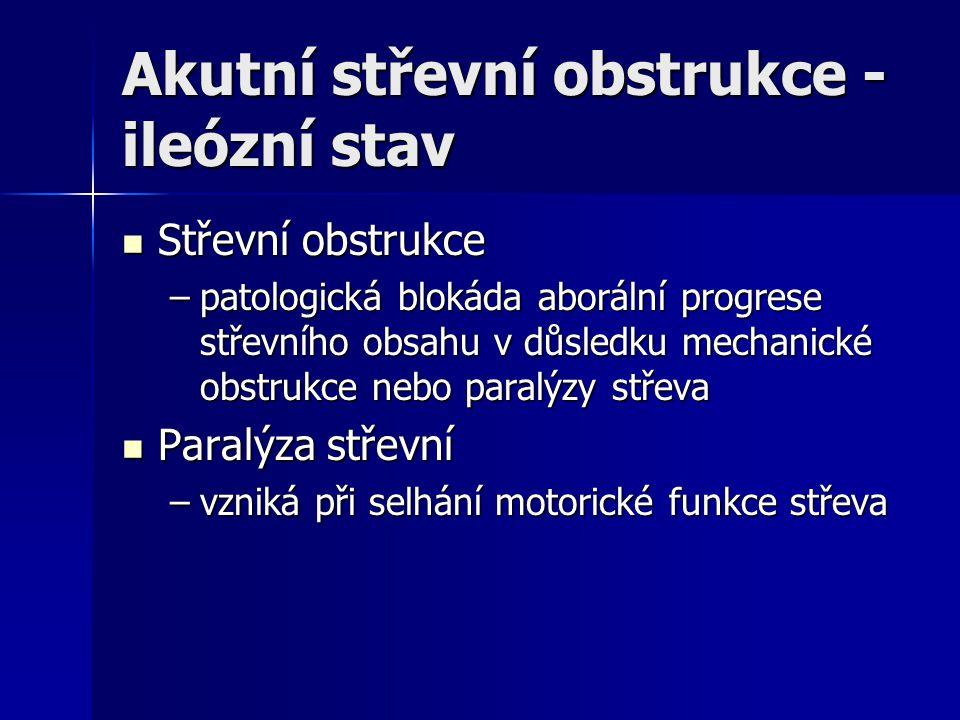 Akutní střevní obstrukce - ileózní stav Střevní obstrukce Střevní obstrukce –patologická blokáda aborální progrese střevního obsahu v důsledku mechani