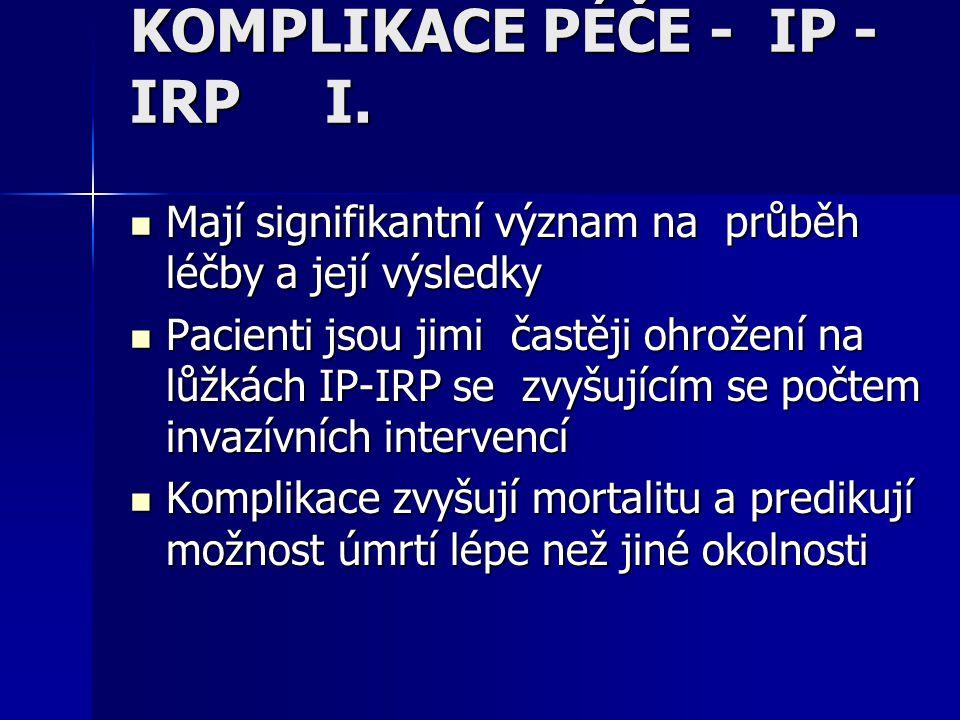 KOMPLIKACE PÉČE - IP - IRP I. Mají signifikantní význam na průběh léčby a její výsledky Mají signifikantní význam na průběh léčby a její výsledky Paci