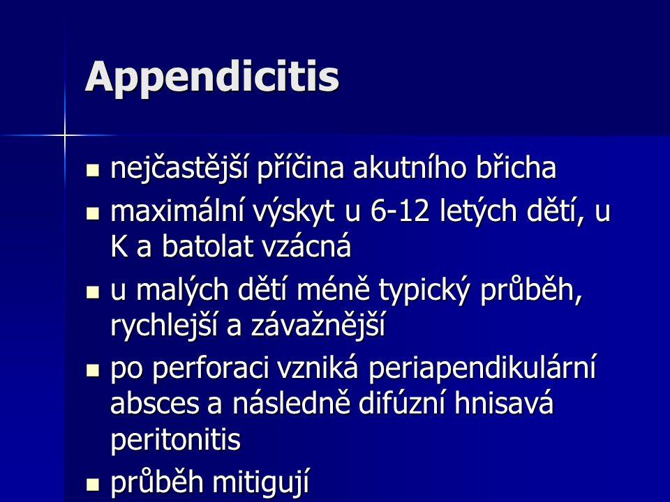 Appendicitis nejčastější příčina akutního břicha nejčastější příčina akutního břicha maximální výskyt u 6-12 letých dětí, u K a batolat vzácná maximál