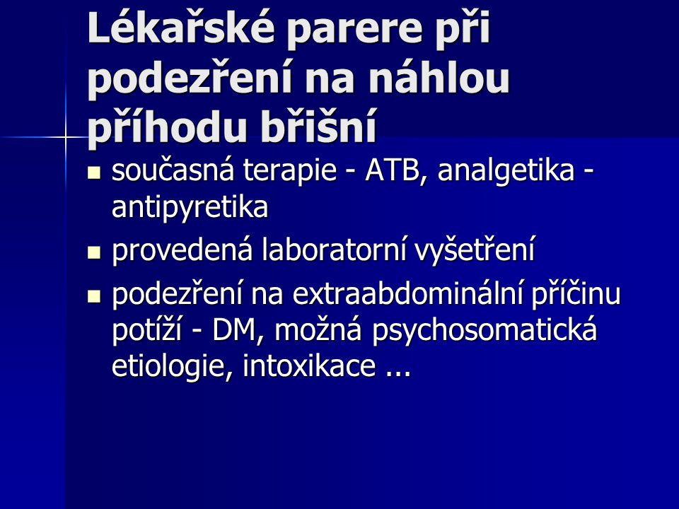 Lékařské parere při podezření na náhlou příhodu břišní současná terapie - ATB, analgetika - antipyretika současná terapie - ATB, analgetika - antipyre