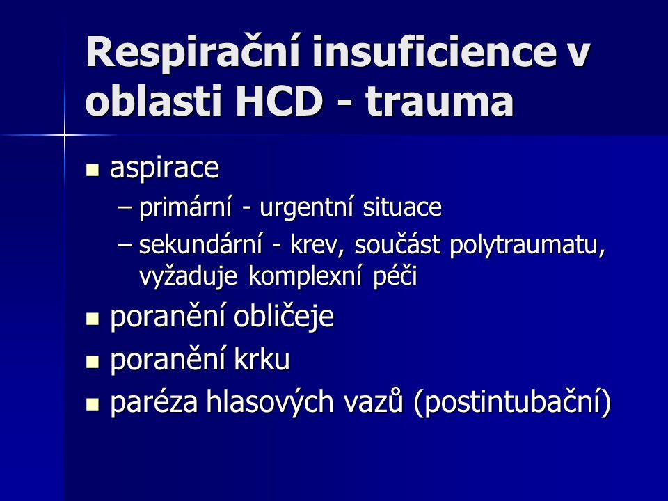 Respirační insuficience v oblasti HCD - trauma aspirace aspirace –primární - urgentní situace –sekundární - krev, součást polytraumatu, vyžaduje kompl