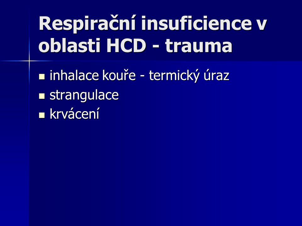 Respirační insuficience v oblasti HCD - trauma inhalace kouře - termický úraz inhalace kouře - termický úraz strangulace strangulace krvácení krvácení