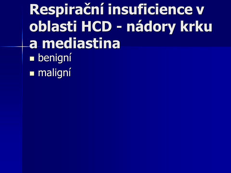 Respirační insuficience v oblasti HCD - nádory krku a mediastina benigní benigní maligní maligní
