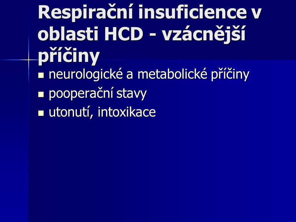 Respirační insuficience v oblasti HCD - vzácnější příčiny neurologické a metabolické příčiny neurologické a metabolické příčiny pooperační stavy poope