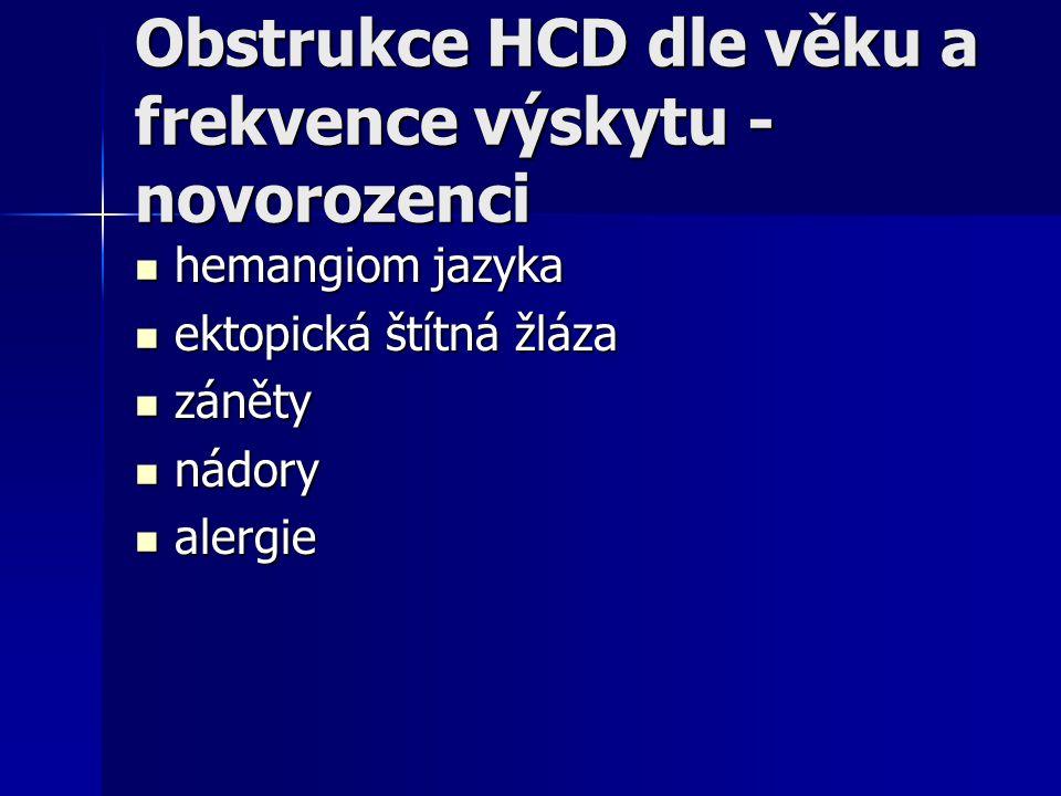 Obstrukce HCD dle věku a frekvence výskytu - novorozenci hemangiom jazyka hemangiom jazyka ektopická štítná žláza ektopická štítná žláza záněty záněty