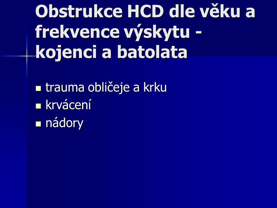 Obstrukce HCD dle věku a frekvence výskytu - kojenci a batolata trauma obličeje a krku trauma obličeje a krku krvácení krvácení nádory nádory