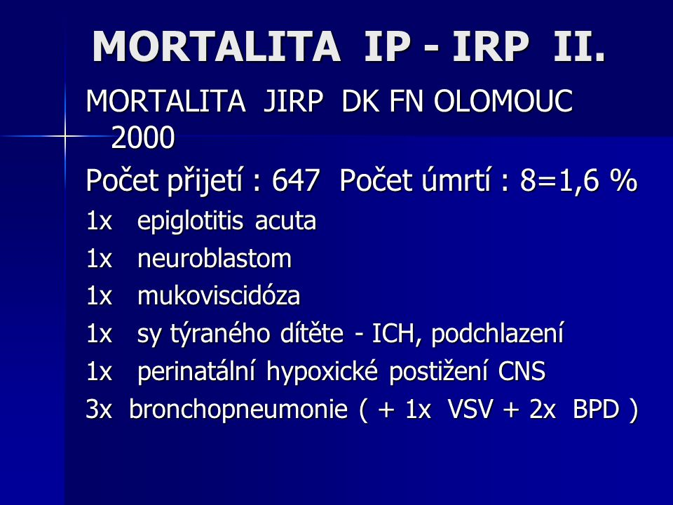 MORTALITA IP - IRP II.