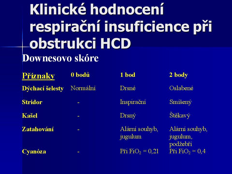 Klinické hodnocení respirační insuficience při obstrukci HCD